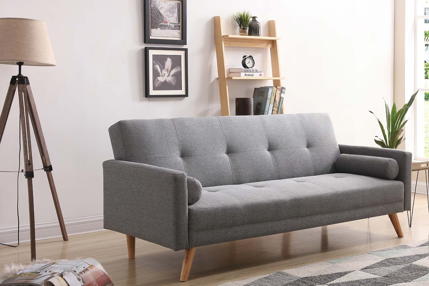 Canapé convertible scandinave 3 places gris Wooden