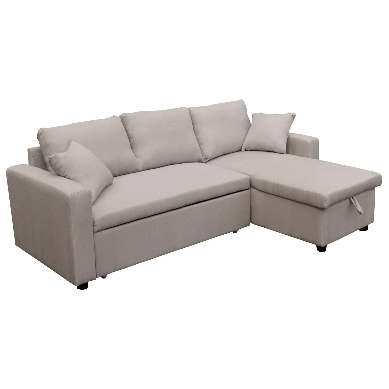 Canapé d angle convertible 3 places gris clair méri nne