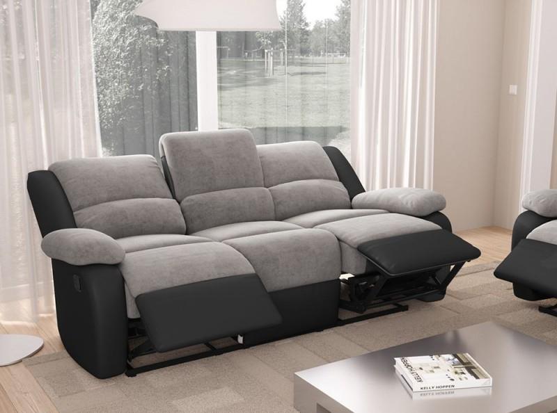 Canapé 3 places relax microfibre gris et simili cuir noir
