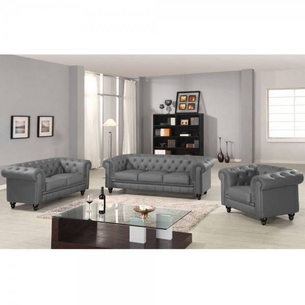 Canapé chesterfield gris capitonné en simili cuir 3 places
