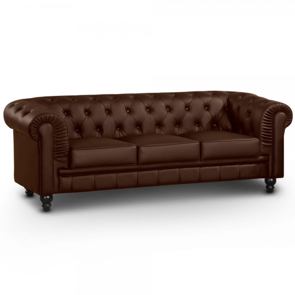 Canapé chesterfield marron capitonné en simili cuir 3