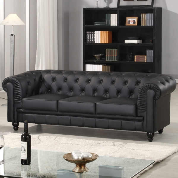 Canapé 3 Places Simili Cuir Canapé Chesterfield Noir Capitonné En Simili Cuir 3 Places