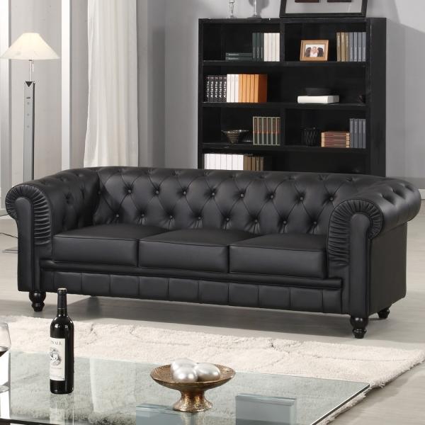 Canapé chesterfield noir capitonné en simili cuir 3 places