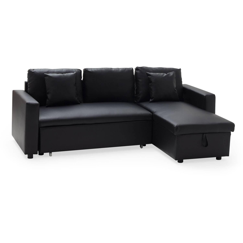 Canapé d angle convertible simili cuir 3 places noir avec