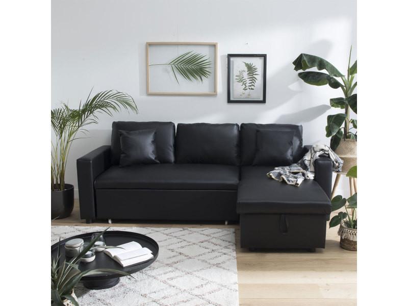 Canapé d angle convertible simili cuir clark 3 places noir