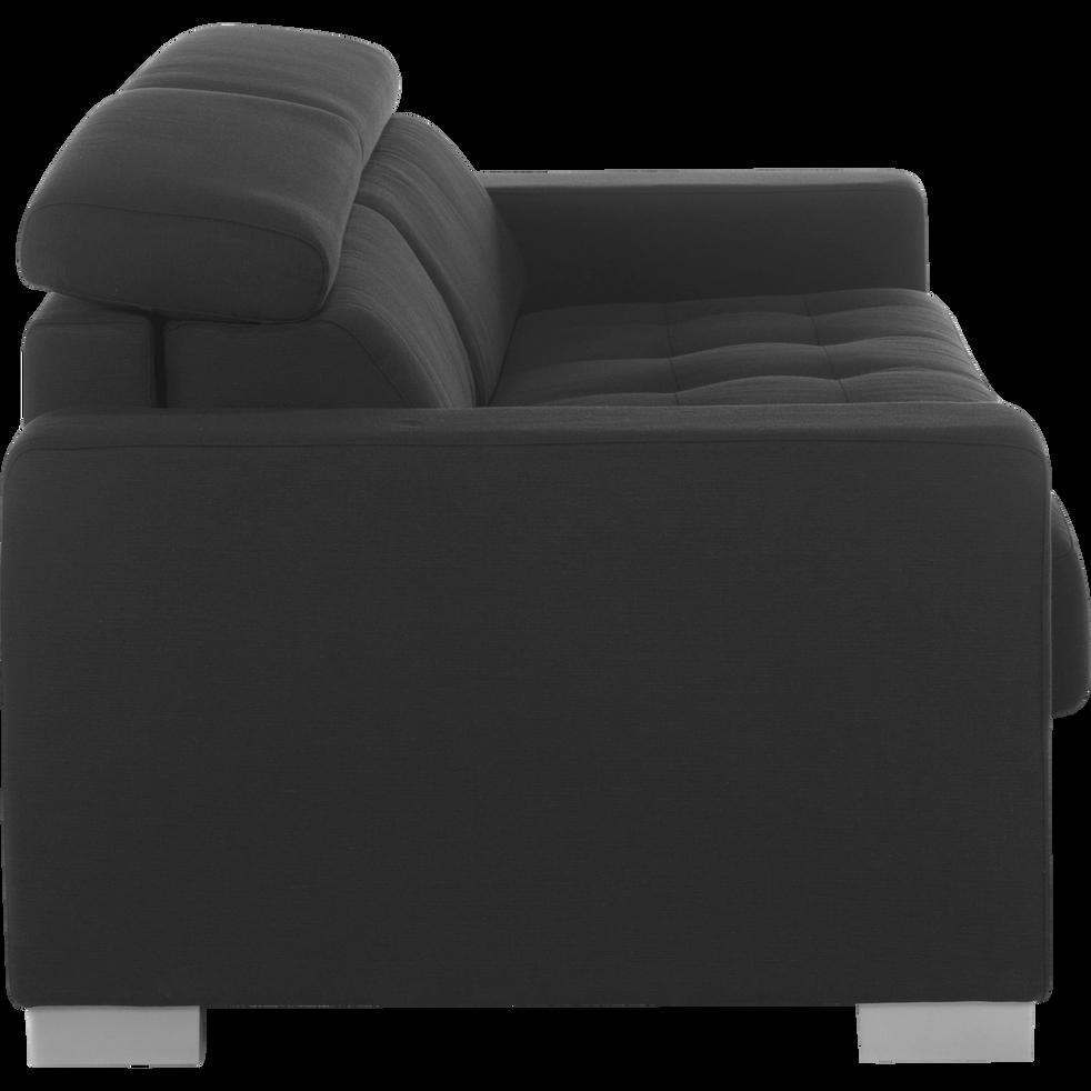 Canapé 3 places convertible en tissu gris foncé Mauro