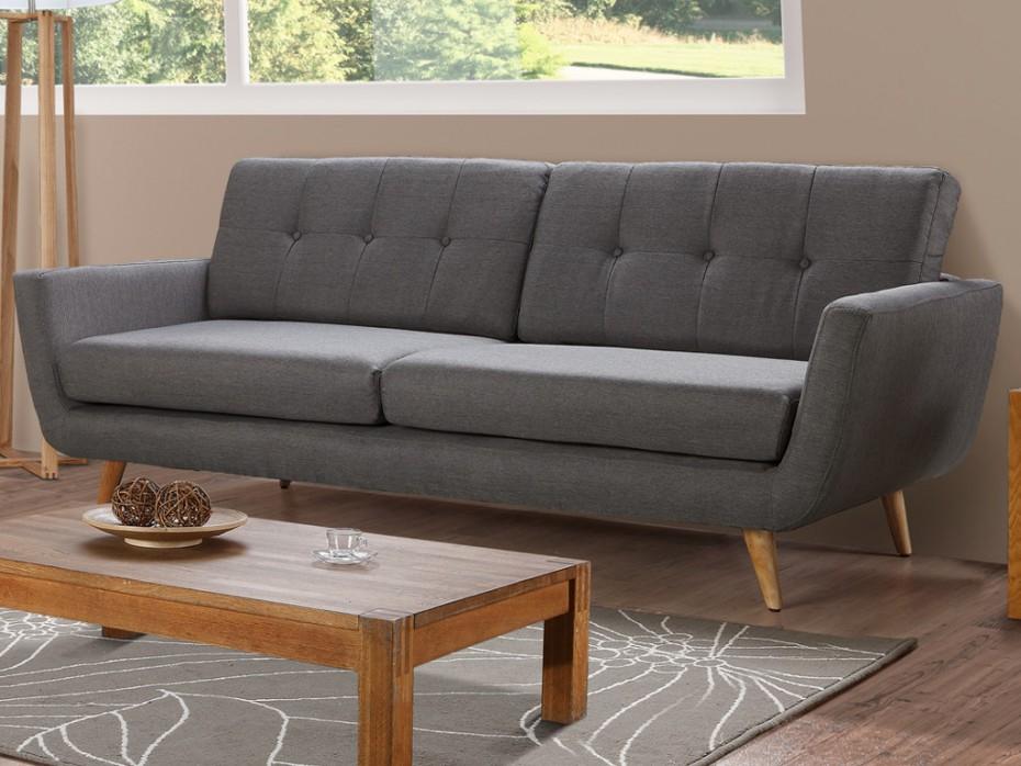 Canapé 3 places En tissu Coloris gris KEIKO