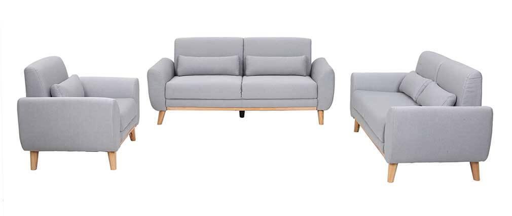 Canapé design 3 places tissu gris clair pieds chêne EKTOR