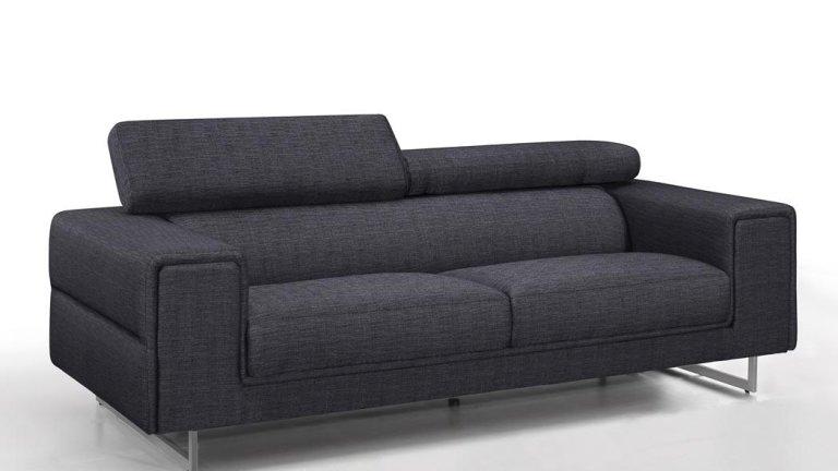 Canapé design gris chablis en tissu fixe 3 places avec