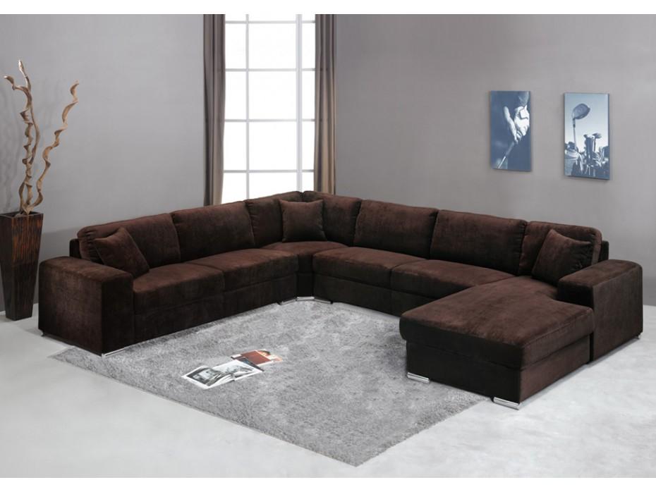 Canapé 7 places en tissu Chocolat ou gris MUSE