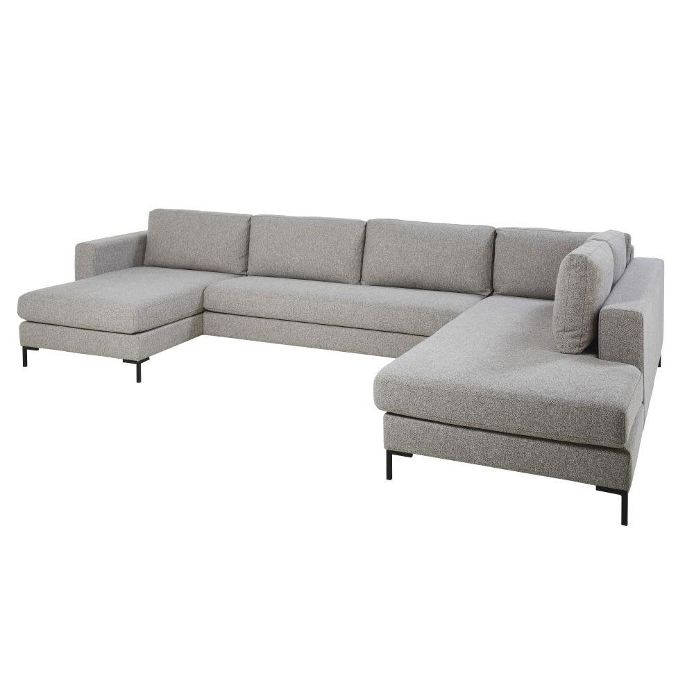 Canapé d angle 5 7 places gris clair avec port USB Lucarno