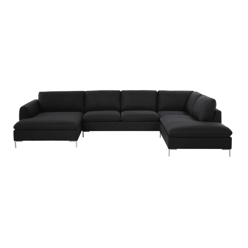 Canapé d angle 7 places en tissu anthracite City