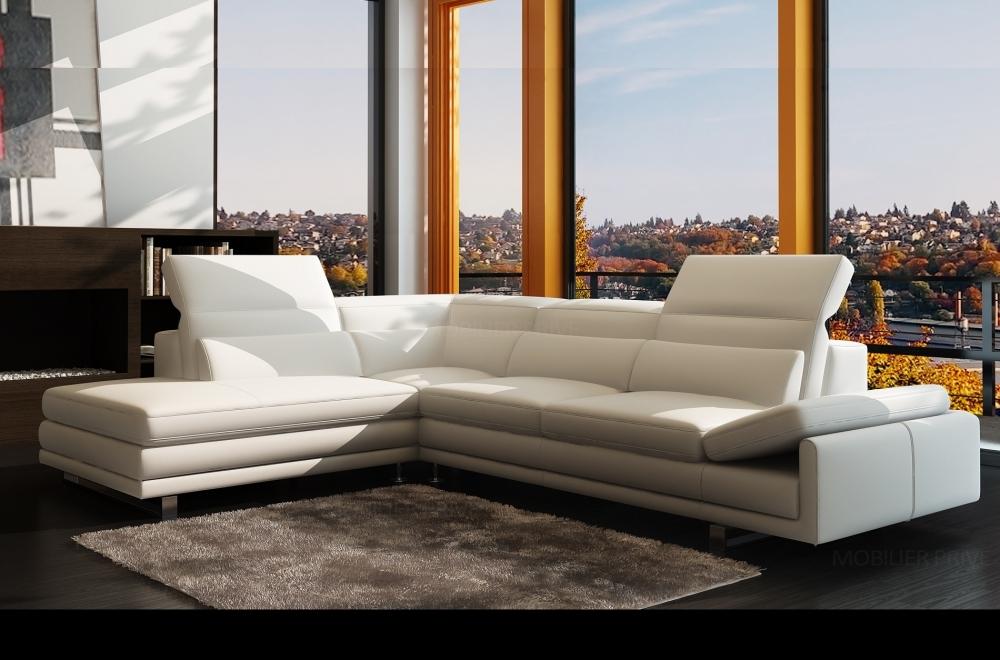 Canapé d angle en cuir italien 6 7 places izen blanc