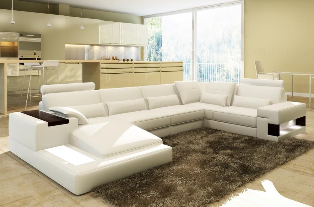 Canapé d angle en cuir italien 7 places best blanc