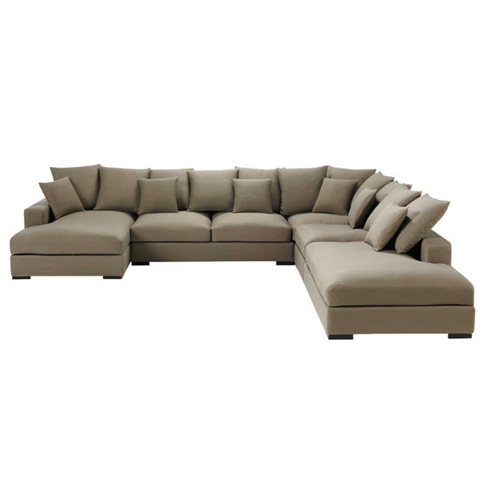 Canapé d angle modulable 7 places en coton taupe Loft