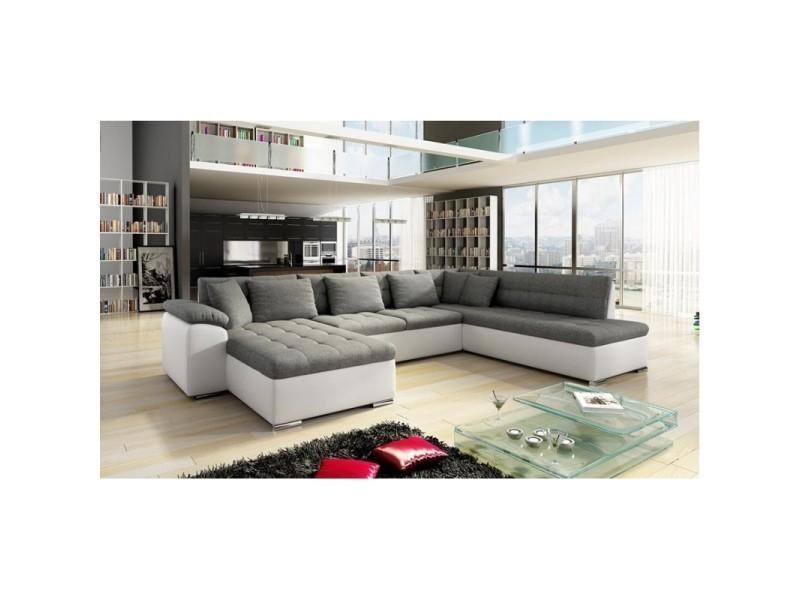 Canapé d angle panoramique 7 places alia gris et blanc
