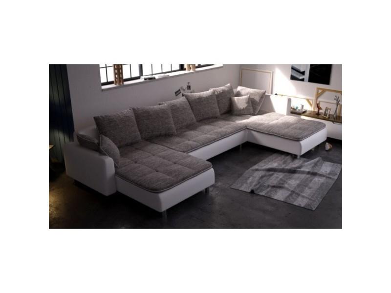 Canapé d angle panoramique dante 6 à 7 places beige et
