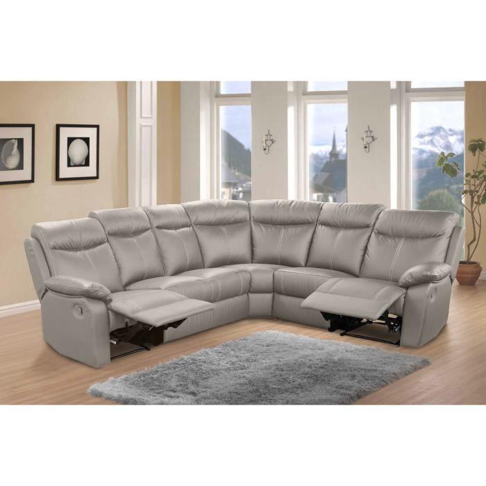 Canapé d angle Relax 7 places Cuir Gris VYCTOIRE L 275
