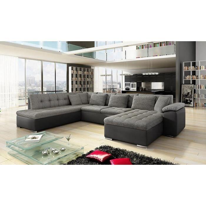 Canapé panoramique en U ALIA gris et noir 7 places Achat