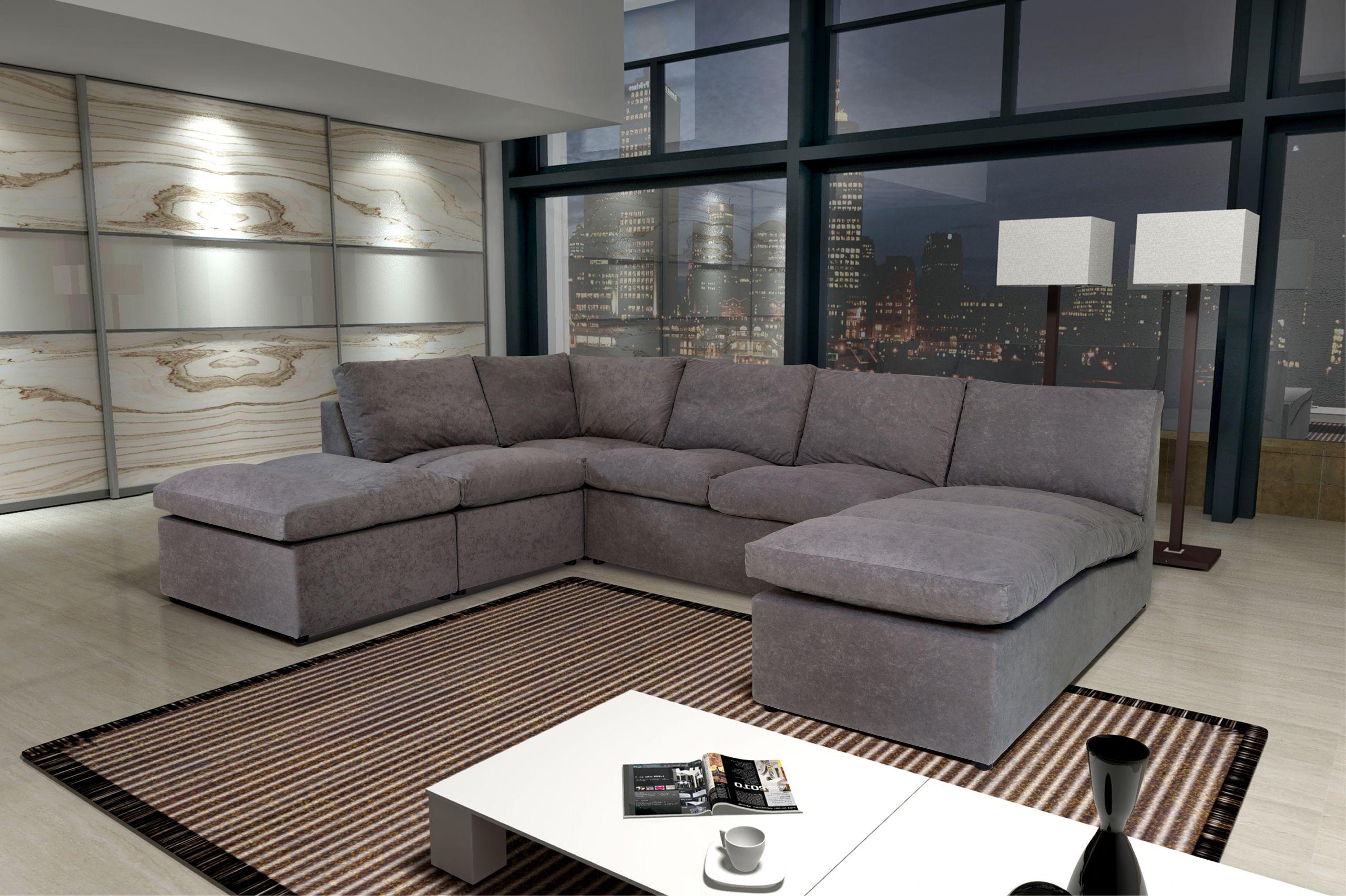 Canapé Avanti gris 8 places modulable canapé sofa divan