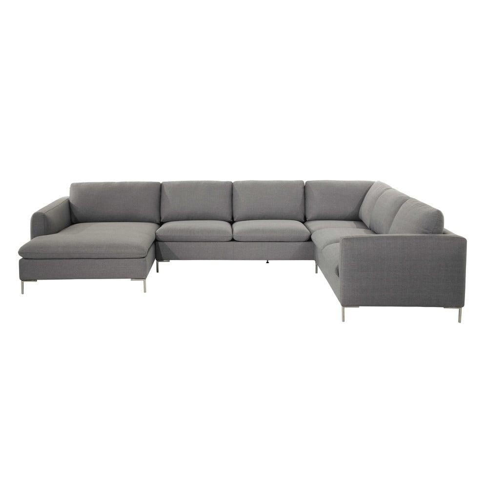 Canapé d angle 8 places en tissu gris clair City
