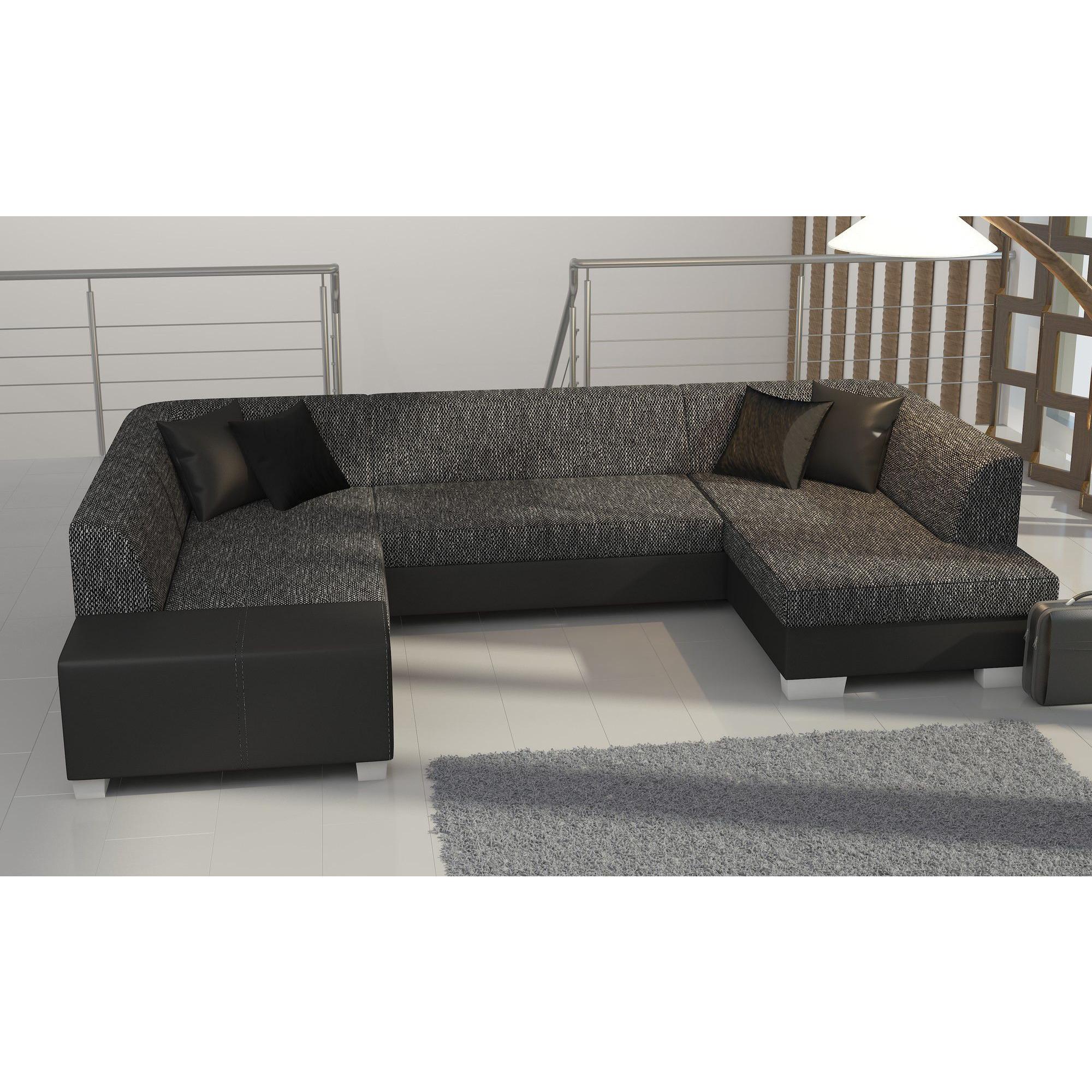 Canapé d angle convertible 4 places en tissu gris foncé et