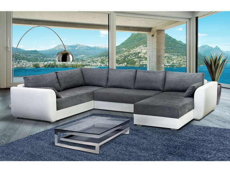 Canapé d angle droit fixe 8 places STAR coloris gris