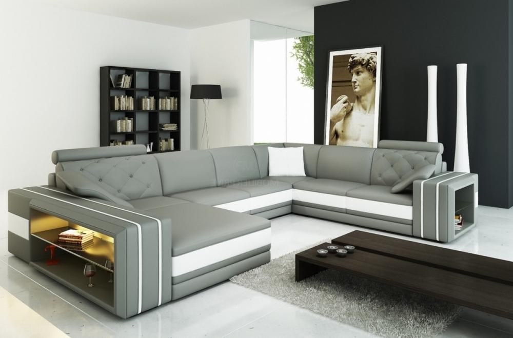 Canapé d angle en cuir italien 8 places bentley gris