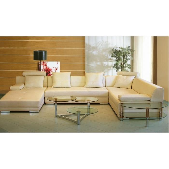 Canapé d angle en cuir italien 8 places NAPOLI beige