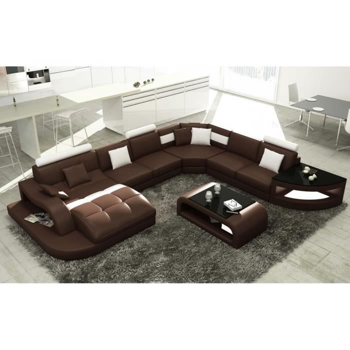 Canapé d angle en cuir italien 8 places NORDIK et Achat