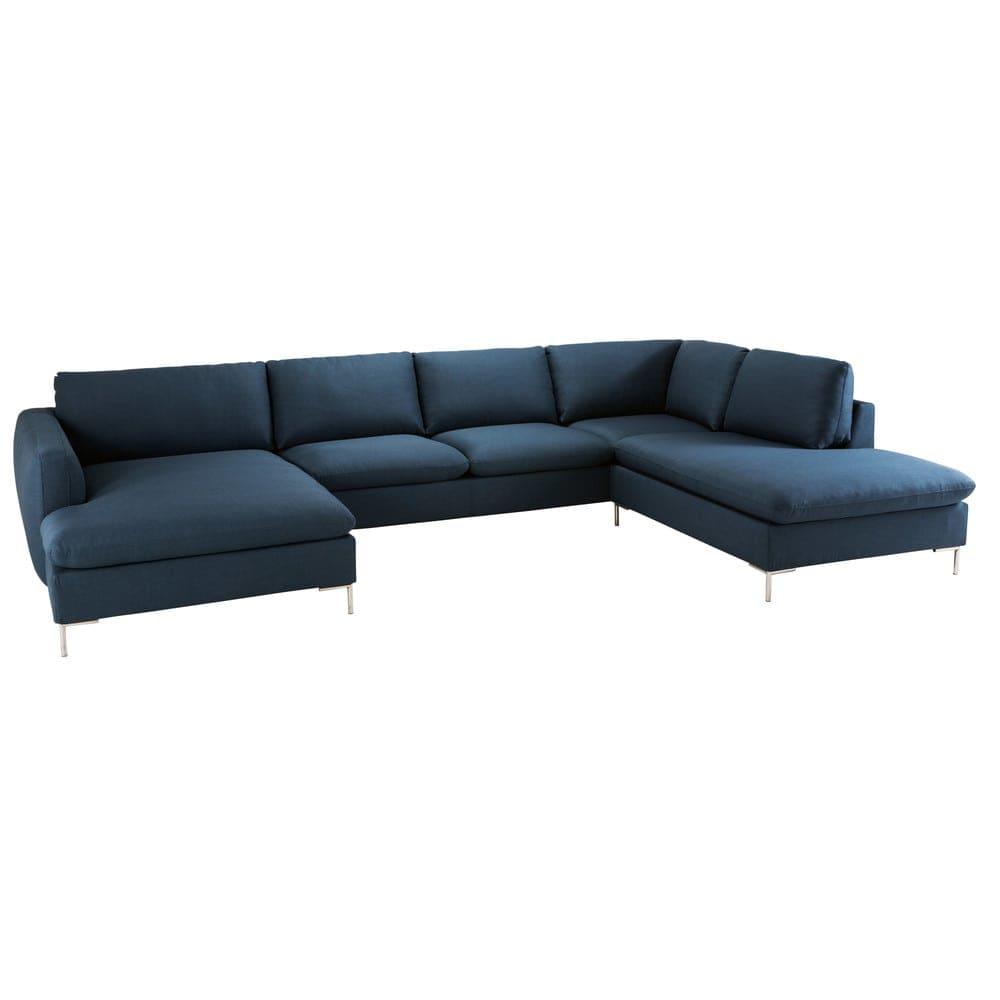 Canapé d angle 7 places bleu nuit