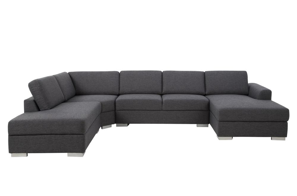 Canapé d angle en tissu de qualité 6 7 places adelo