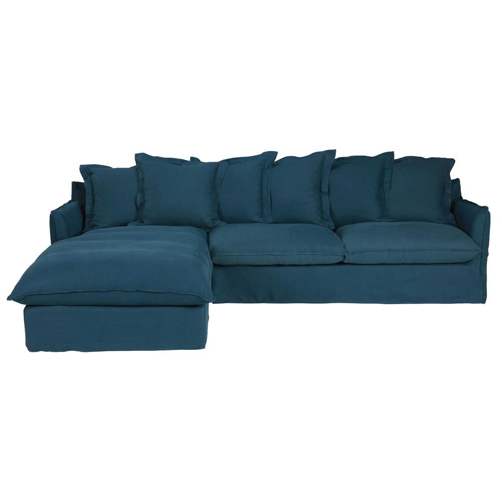 Canapé d angle gauche 7 places en lin lavé bleu pétrole