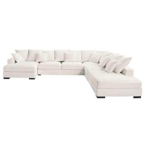 Canapé d angle modulable 7 places en coton ivoire Loft