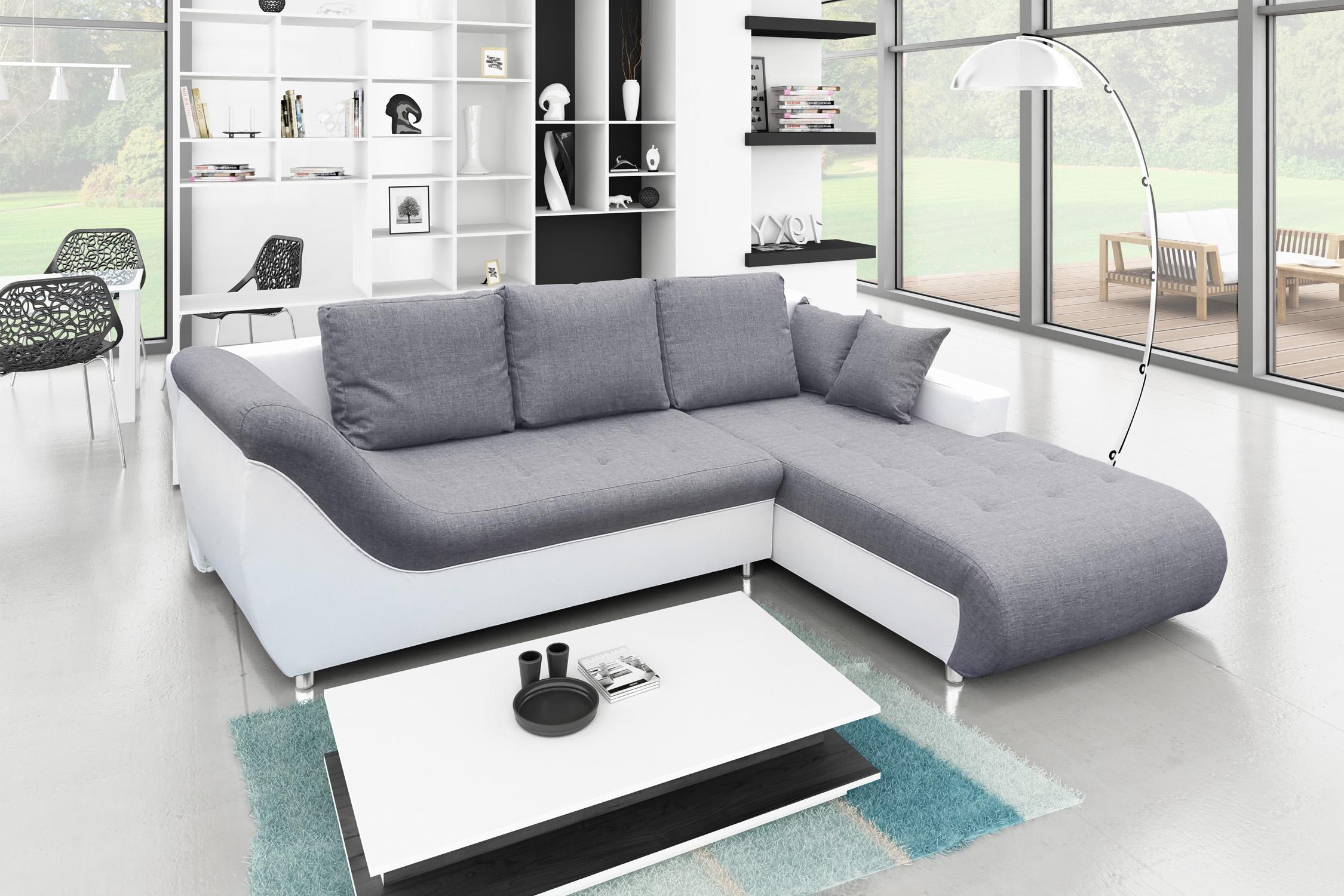 canapé d angle blanc et gris