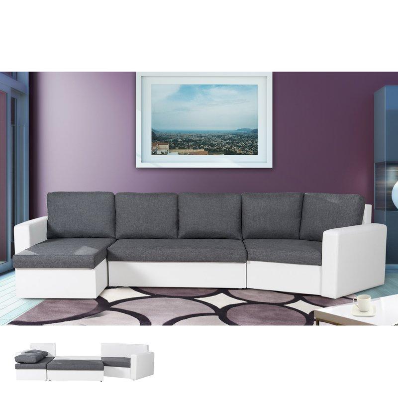 Canapé d angle convertible 120 degrés gris et blanc SAVANE