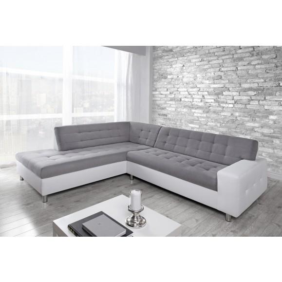 Canapé d angle gauche Marko blanc et gris