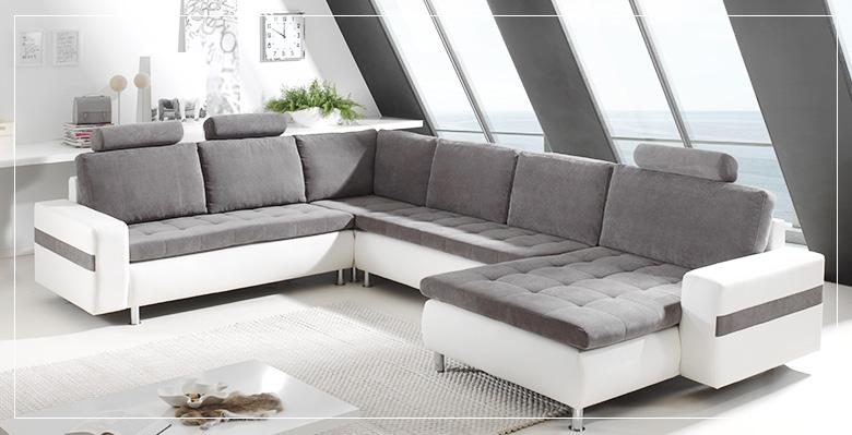 Canapé d angle gris et blanc