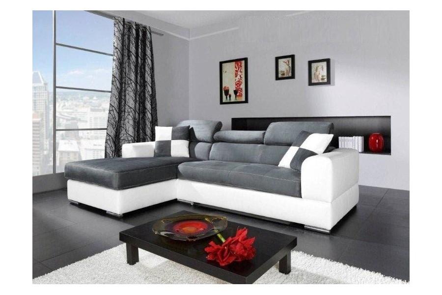 Canapé d angle Madrid I cuir Pu et microfibre gris et