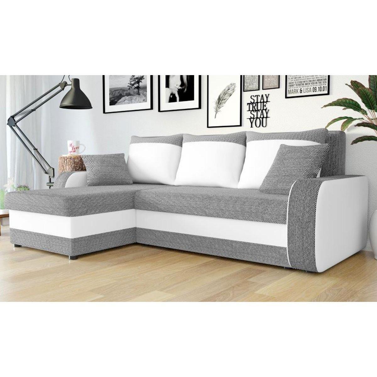 Canapé d angle réversible et convertible gris et blanc