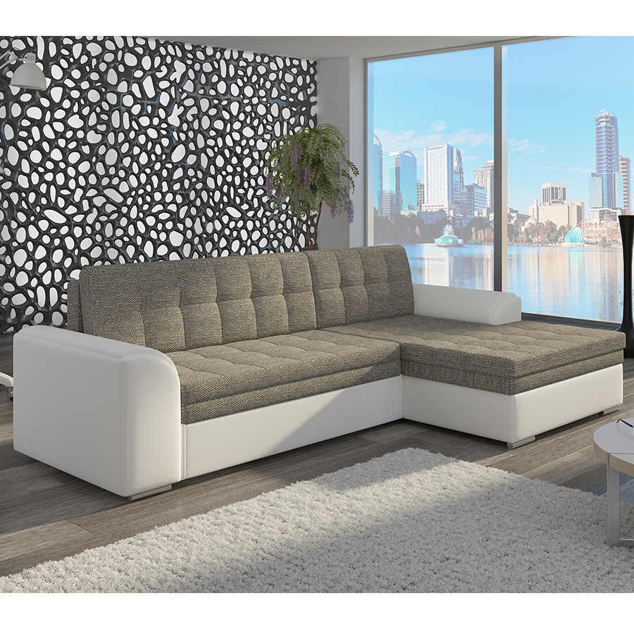 meuble de salon canapé canapé angle gris et blanc