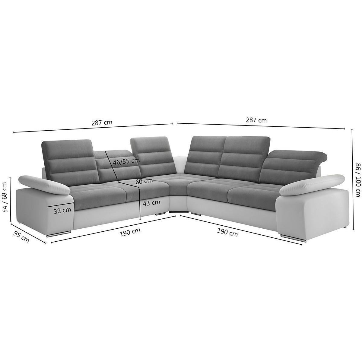 Salon Canapé d angle convertible design en tissu gris et
