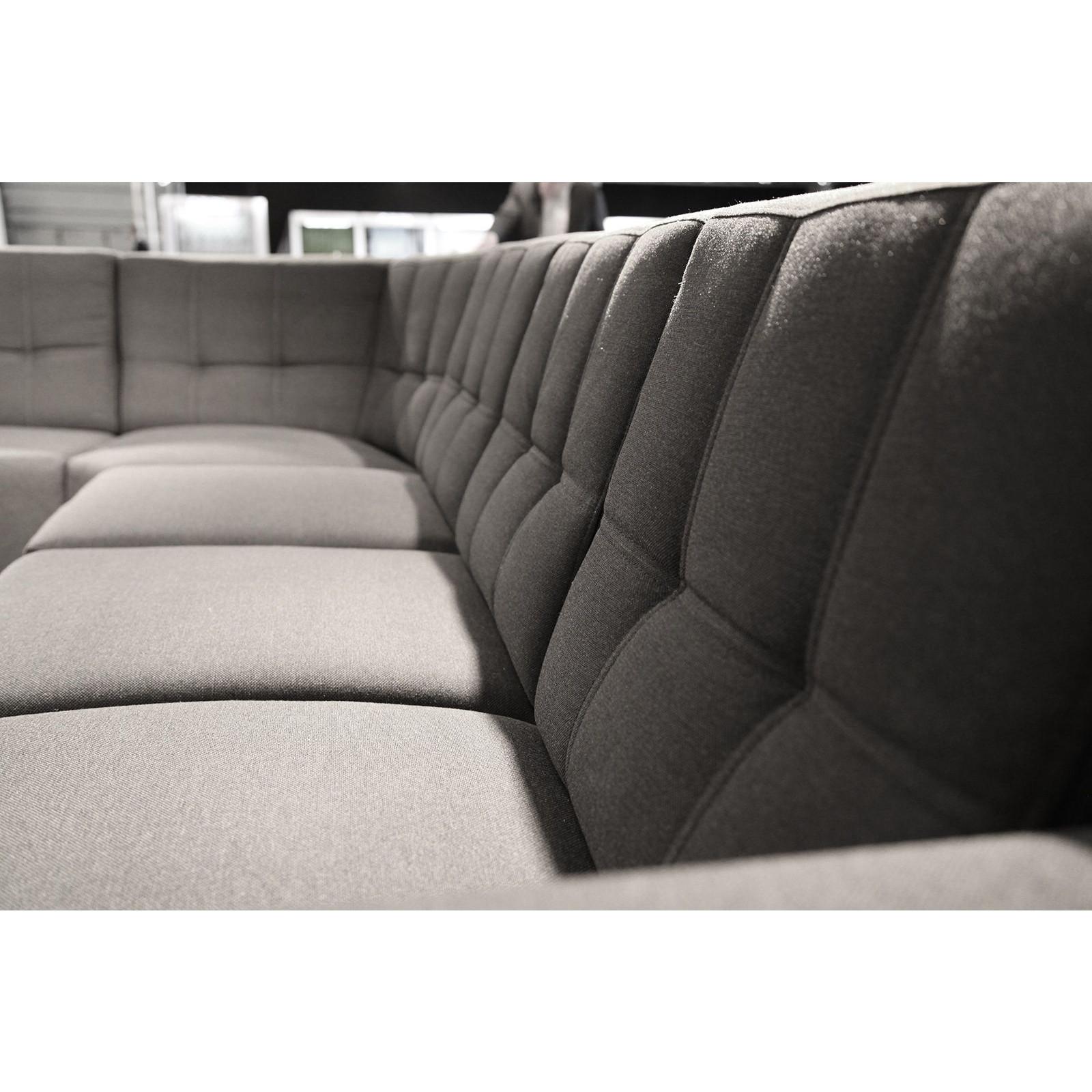 Salon Canapé d angle moderne à 6 places en tissu gris et