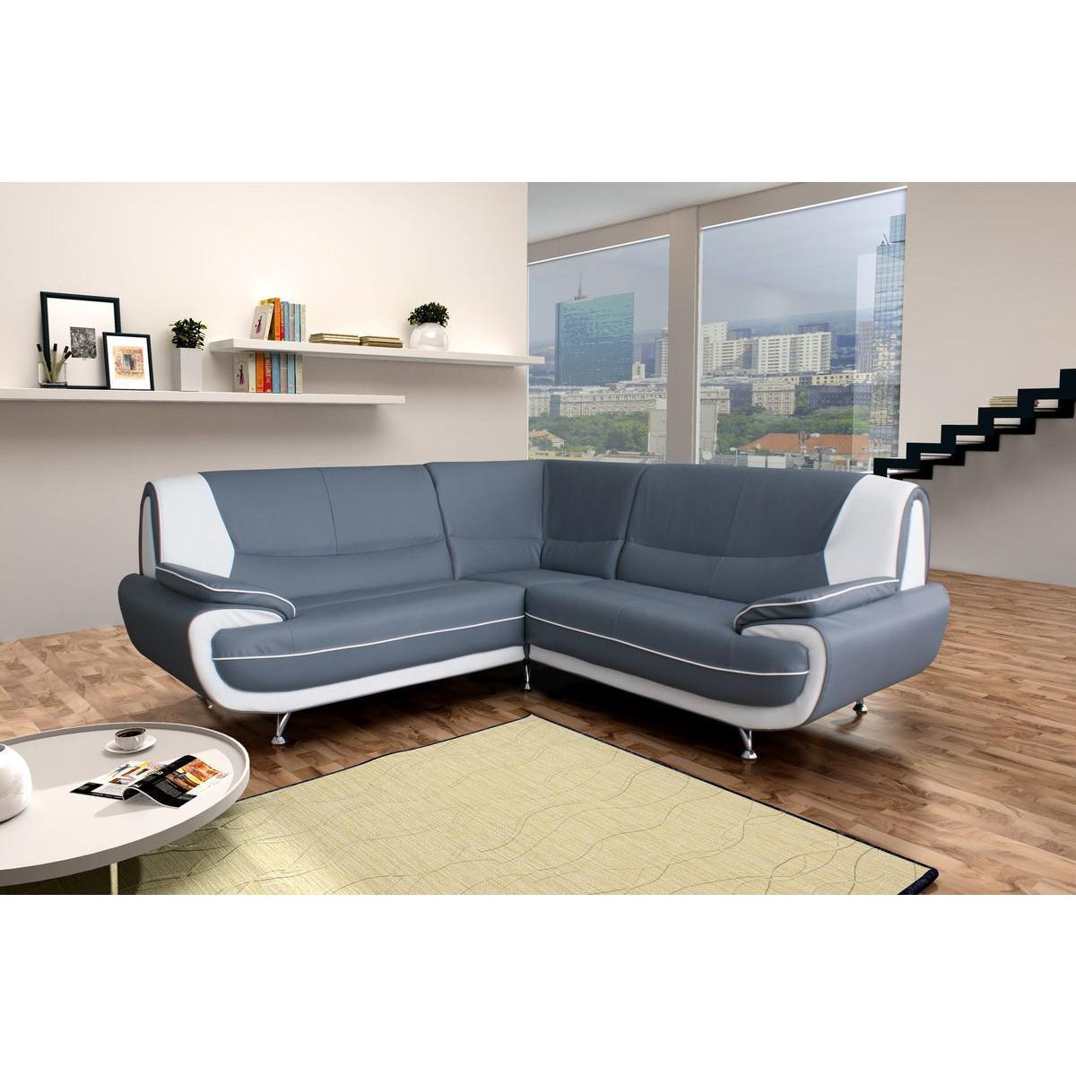 Salon – canapé d'angle gris et blanc forium