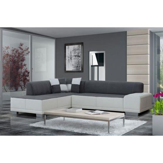 Canapé angle william gris blanc gauche Achat Vente