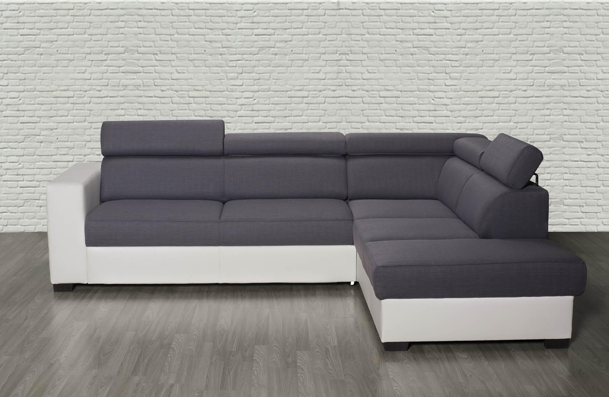 Canapé d angle droit Auxane convertible avec têtières gris