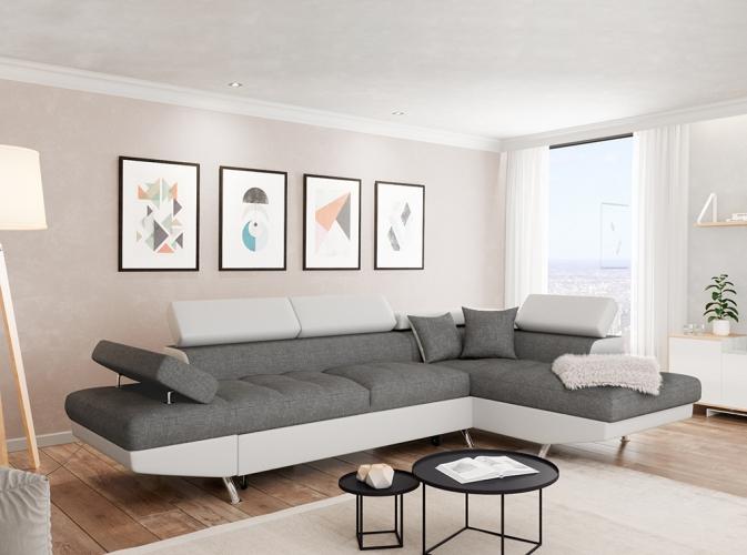 Canapé d angle en simili cuir et tissu droit blanc gris