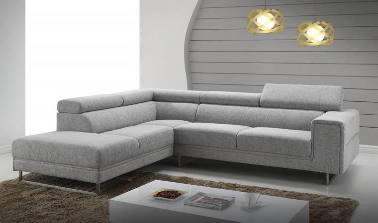 canapé d angle en tissu gris chiné design avec appui tête