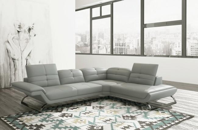 Canapé d angle en tout cuir italien 5 places moderni