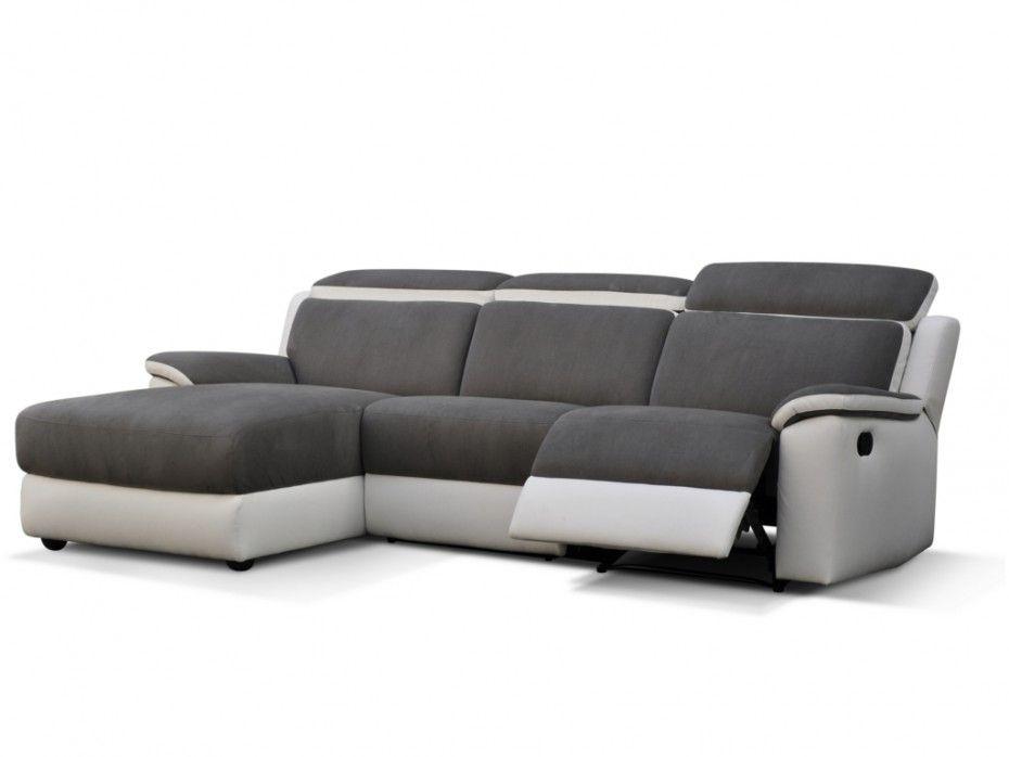 Canapé d angle gauche relax en simili gris et blanc